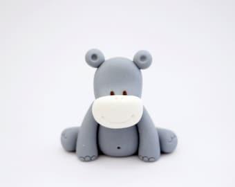 Fondant hippo cake topper / cupcake topper - Fondant jungle animals