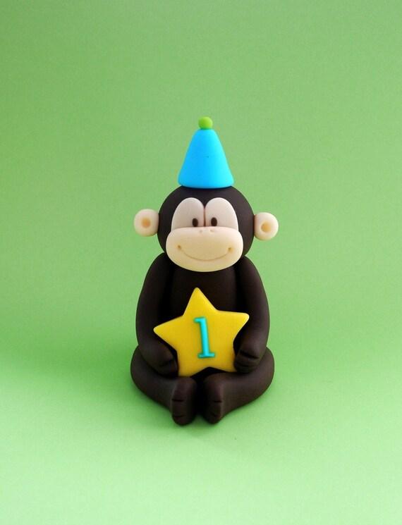 Monkey fondant cake topper. Fondant monkey baby shower / birthday cake ...