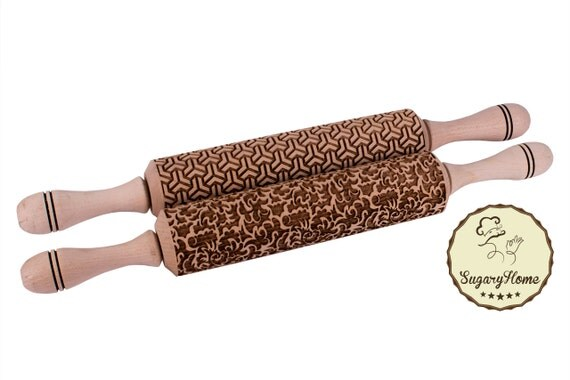 Rolling pin Laser cut embossed Set of two Stylish by ...