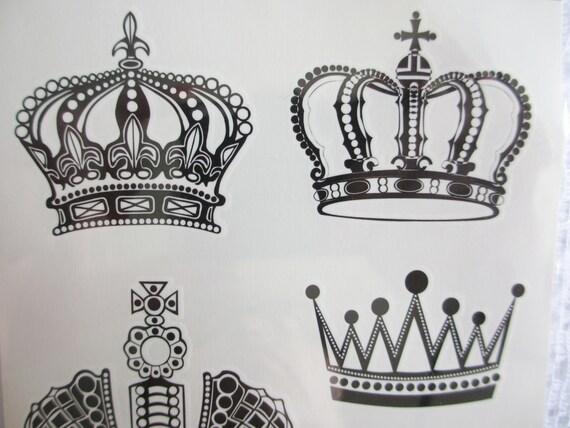 Temporary Black Crown Tattoos, Beautiful Sticker Tattoo, Jewelry ...