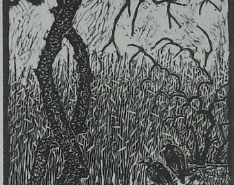 By the Creek.  Original woodcut framed and ready to hang.