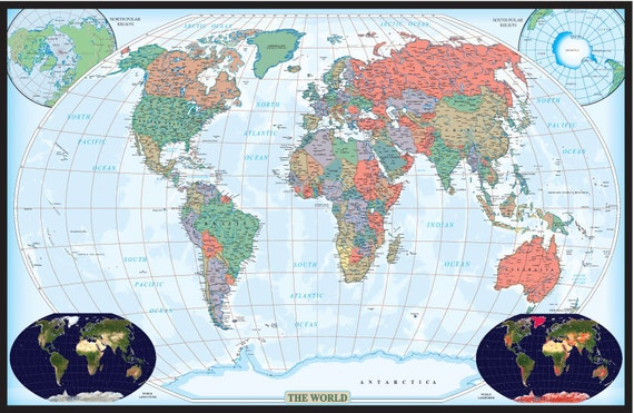 Swiftmaps world decorator edition wall map poster mural wall for Executive world map wall mural