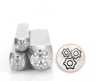 Gear Set Metal Design Stamp Set of 3 - Sizes 4mm, 6mm, 9.5mm - ImpressArt - Steampunk Design - Gears and Cogs