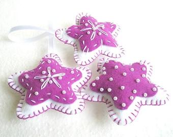 Stars felt ornaments, Christmas tree ornaments, star fabric, home decor, Felt ornaments, set of 3 pieces