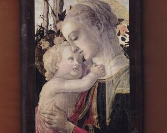Virgin Mary,Botticelli Sandro, Madonna col Bambino e San Giovannino,1468.FREE SHIPPING