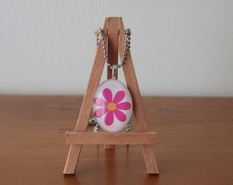Bright Pink and Orange Flower Glass Tile Pendant