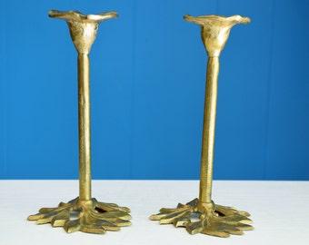Vintage Brass Morning Glory Flower Candlestick Holders