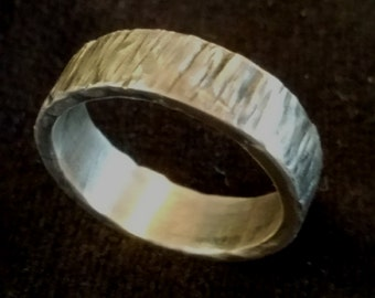 Hammered Rustic .925 Sterling Silver Ring 6mm Wide Band - Wedding Band