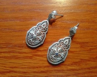 Victorian style 925 Silver Filigree Earrings with Blue Sapphires.