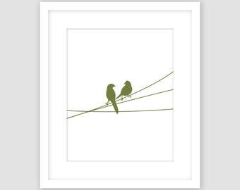 Birds on a Wire Print, White and Olive Green, Animal Wall Art, Modern Art, Instant Download, DIY, Printable