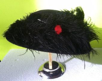 Antique Modest Edwardian Ladies Velvet Hat Adorned With Ostrich Plumes