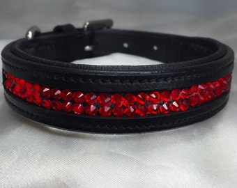 "Leather Padded Dog Collar ""Red Hotts"""
