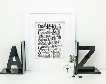 Handlettered Canadian Capital Cities Digital Download 8x10