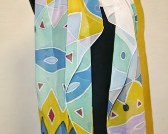 Woman scarf hand painted silk painting