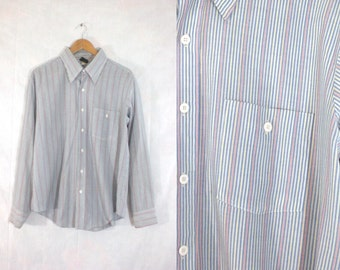 40%offJuly25-27 mens striped shirt size xl. 70s dress shirt mens xl. colorful shirt. mens button down shirt. mens shirt xl 17 17.5