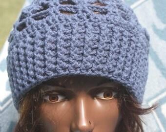 Crochet-Cobalt Blue Ribbed Hat-Hats- Winter Hats- Fall  Hats-Berets- Beret Hats-