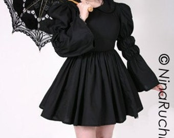 Gothic Lolita Dress - Goth Loli Dress - Black Dress - Goth Dress -  Cosplay Dress - Large Bow - Long Sleeves - Custom Size - Plus Sizes