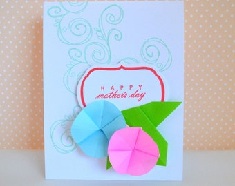 Handmade Morning Glories Flower  Origami  Mother's Day Card