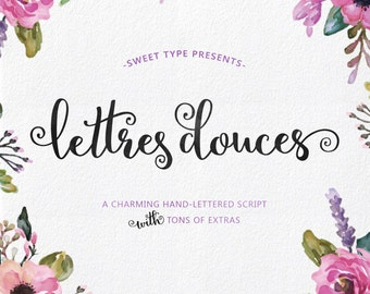 Lettres Douces Hand-lettered script, Hand drawn font download, commercial or personal