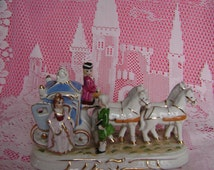 Fairytale princess or Cinderella coach figurine, with Prince, Princess, 4 white horses and coachman. Vintage hand painted china. JBG London