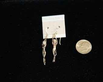 Sterling Silver Naked Lady Earrings Dangle Vintage 1980's