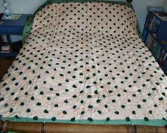 Hand Tufted Quilt Antique Vintage Patchwork Green and Pink Salmon Apricot 73 x 84