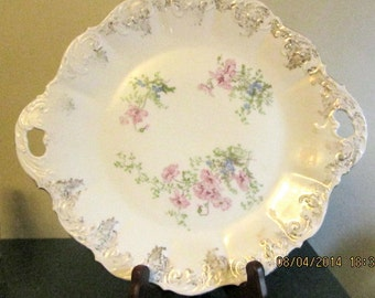 O & EG Royal china plate ruffled edges floral and gold trim with handles platter
