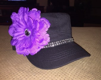 Custom woman's cadet hat with bling and rhinestone center flower.