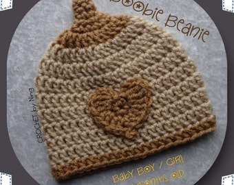 Beige and Tan Boobie Beanie, Baby Boy/Girl, Crochet Boobie, Breastfeeding Moms, Nursing beanie, Crochet Beanie, Newborn hat, skull cap