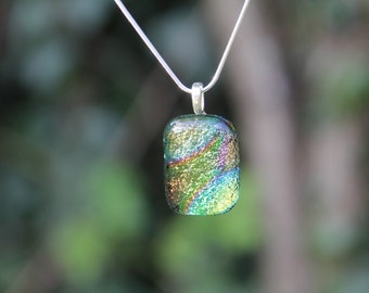 Multi-coloured dichroic glass pendant, dichroic glass necklace
