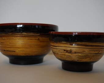 Set of two containers in lacquered bamboo wood