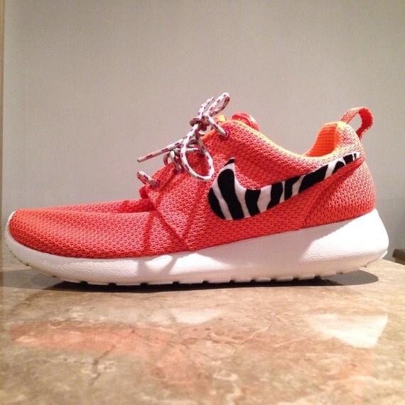 Women custom roshe runs orange shoes nike size 7 5