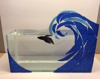 Handmade wave art design stained glass mosaic mirror fish tank square betta bowl