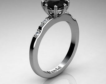 Classic 14K White Gold 1 Carat Black Diamond Diamond Solitaire Engagement Ring R1005-14KWGDBD