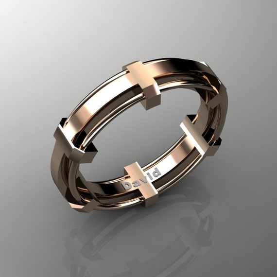 Mens Modern 14K Rose Gold Formal Wedding Band B1002M 14KRG