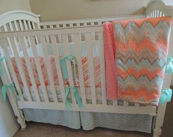 Coral Mint Chevron Baby Bedding Set
