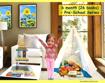 26x Personalized Children's Books with Photo- 6 month (26 titles) set of personalized kids eBooks for Pre-Schoolers with photo and name.