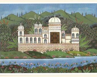 Indian palace. Fine art card.