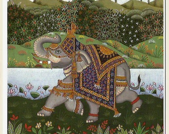 Indian elephant. Fine art card.