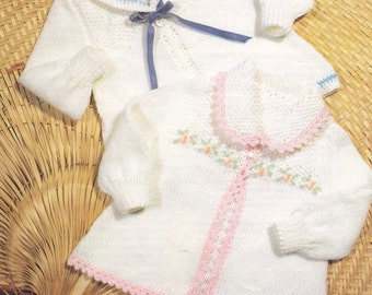 2 lovely baby cardigan with crochet edge Pattern  PDF-