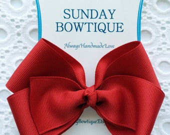 Red Hair Bow, Red Boutique Bow, Red Hairbow, 4th of July Hair Bow, Christmas Hairbow, Valentine's Hair Bow, July 4th Hair Bow, Hairbow