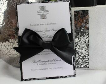 Luxury Wedding Invitations - Black and White - Wedding Invitation- Lace
