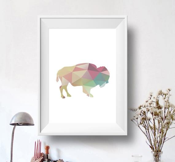 Geometric Bison Print Buffalo Poster Print Pastel Buffalo Poster ...: https://www.etsy.com/listing/231853277/geometric-bison-print...