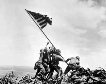 Iwo Jima WWII Poster Art Photo 11x14