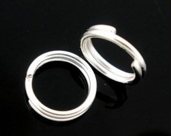 10mm Shiny Silver Plated Split Jump Rings | 100 pcs | JR43