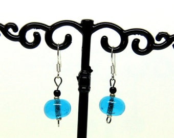 File torch blue Murano glass earrings