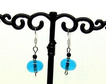 File torch blue Murano glass earrings