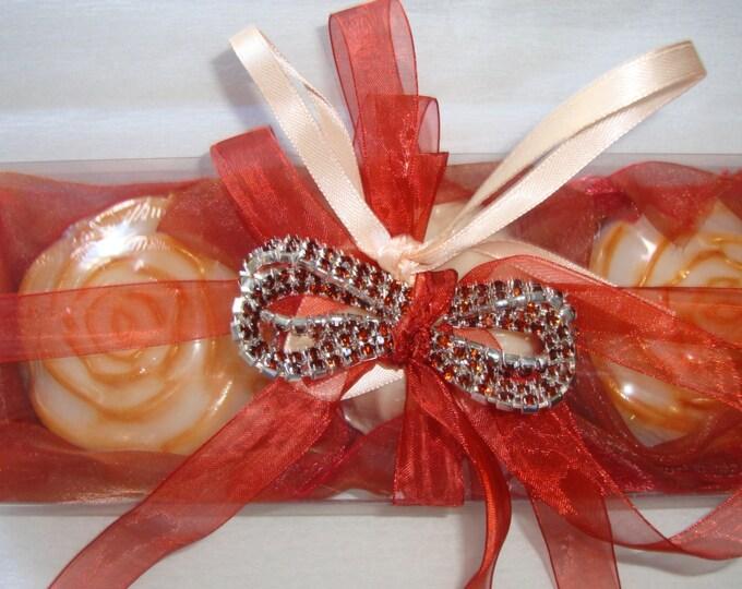 Valentine's inspired Elegant Gift for Her, Study in Terracotta Handmade Gift Set for Women, Deluxe fragranced soaps, Jewelry Bracelet, Party