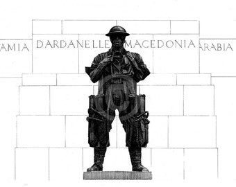 "Illustration of C.S. Jagger's ""Royal Artillery Memorial"" (1921-25), Hyde Park Corner, London."