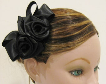 Prom Bridesmaid Flower Girl Satin Rose Flower Hair Clip Barrette